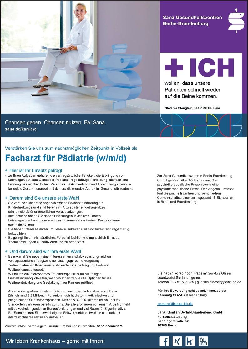 Facharzt/-ärztin Pädiatrie