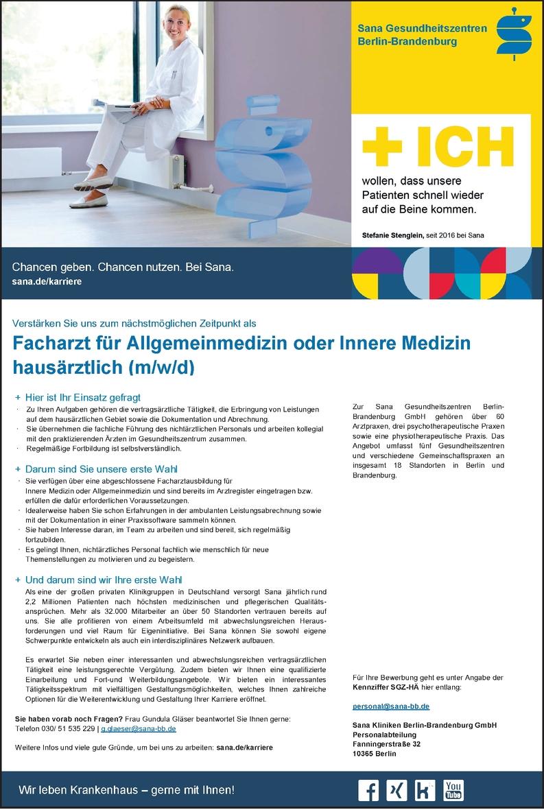 Facharzt/-ärztin Allgemeinmedizin