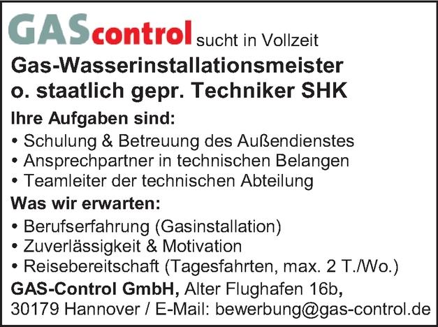 Gas-Wasserinstallationsmeister