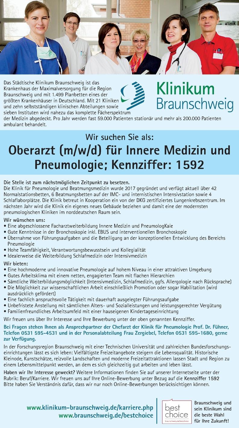 Oberarzt/-ärztin für innere Medizin und Pneumologie