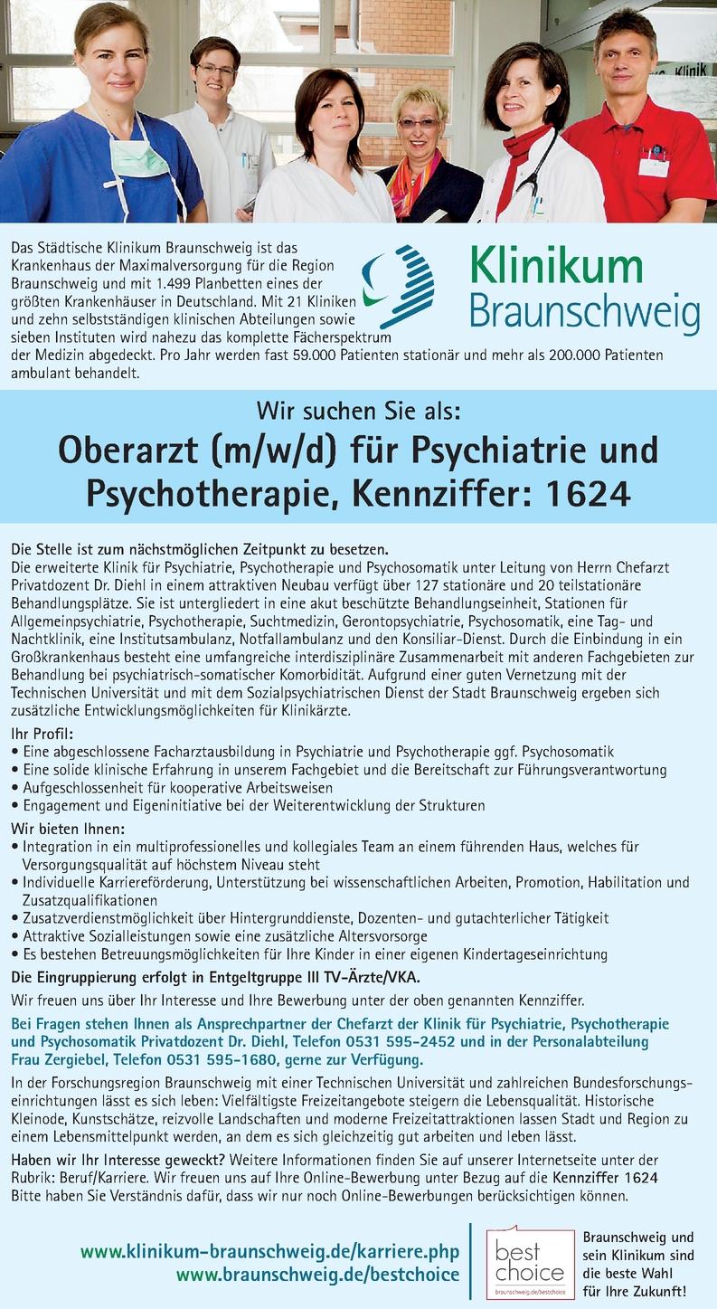 Oberarzt/-ärztin für Psychiatrie und Psychotherapie