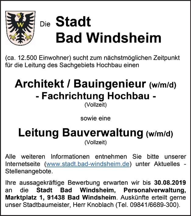 Architekt / Bauingenieur (w/m/d) - Fachrichtung Hochbau - (Vollzeit)