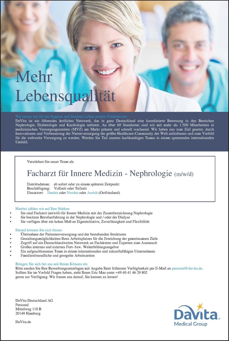 Facharzt/-ärztin - Innere Medizin - Nephrologie