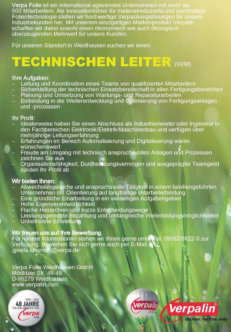 Technischer Leiter (w/m)