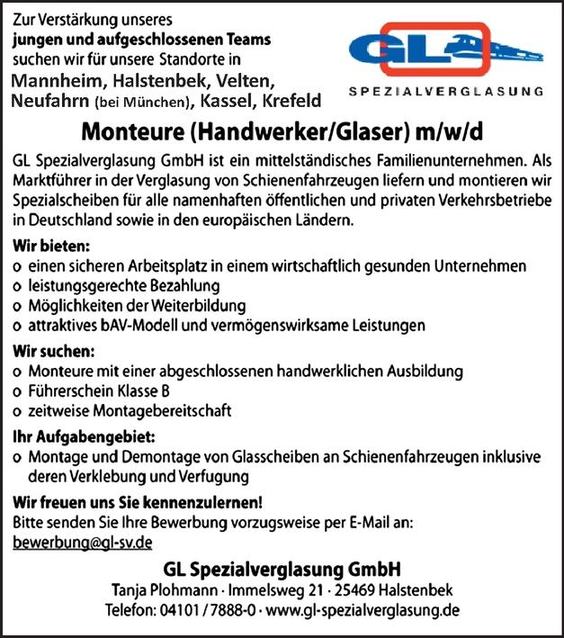 Monteure (Handwerker/Glaser) m/w/d