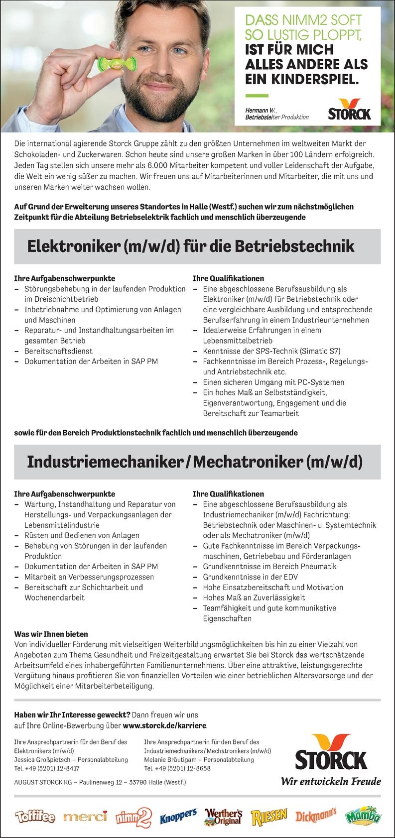 Elektroniker (m/w/d) für die Betriebstechnik
