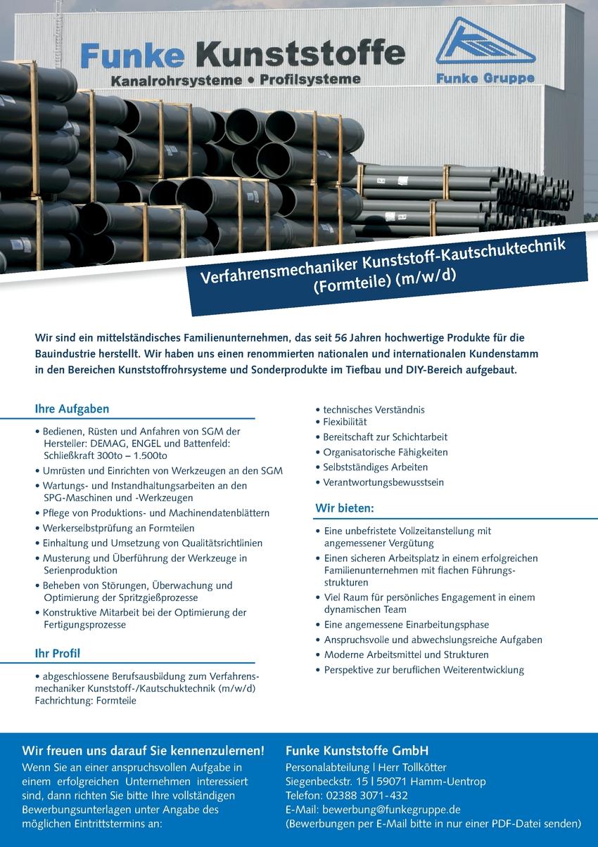 Verfahrensmechaniker Kunststofftechnik Formteile (m/w/d)