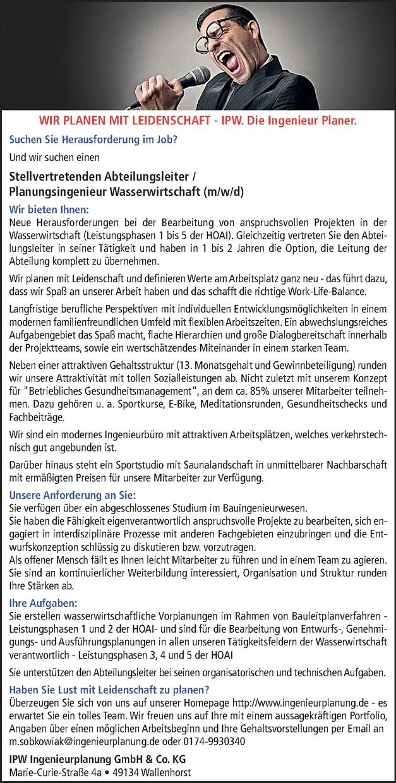 Abteilungsleiter / Planungsingenieur Wasserwirtschaft (m/w/d)