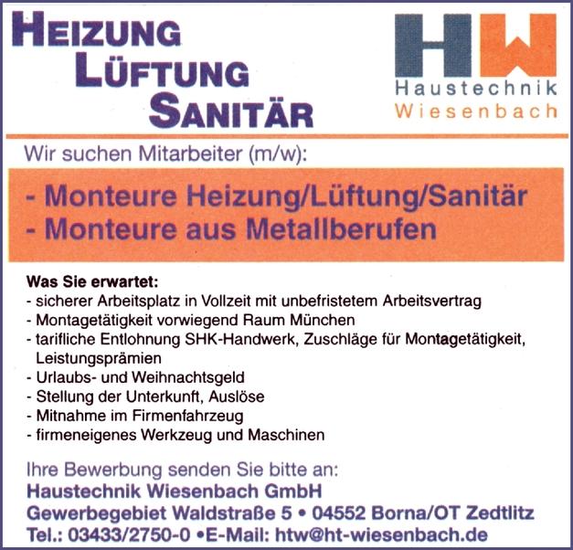 Monteure aus Metallberufen m/w/d
