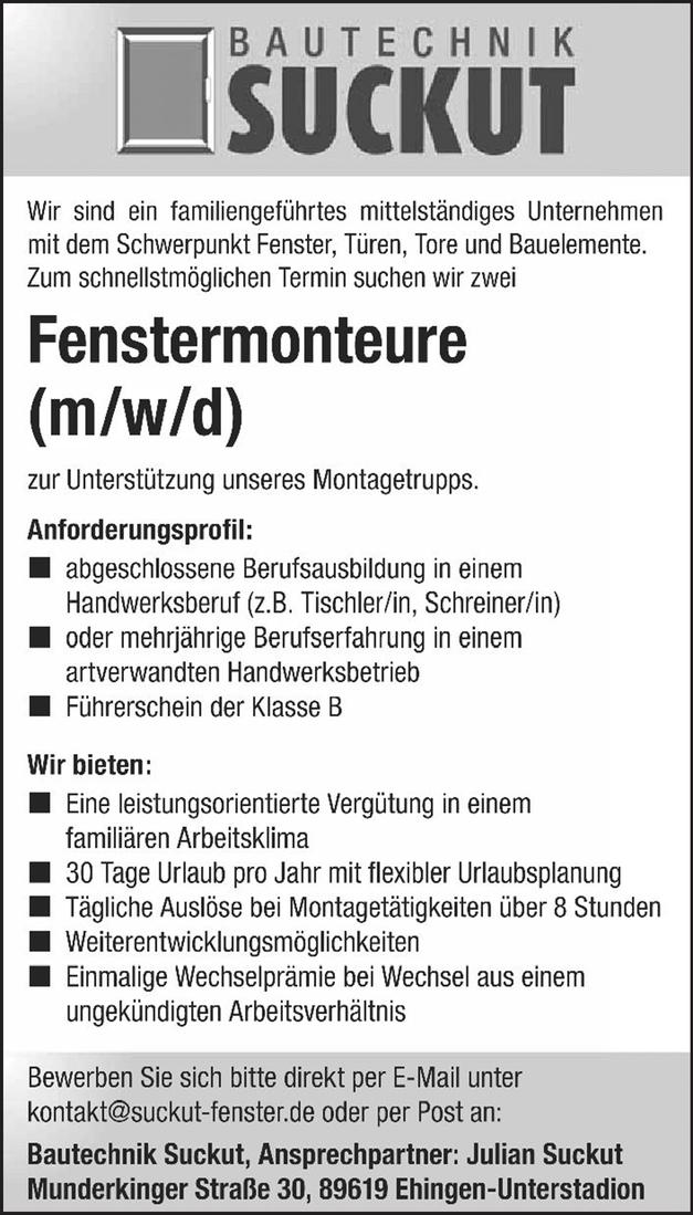 Fenstermonteure (m/w/d)