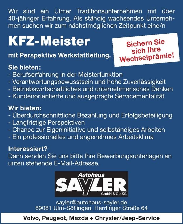 KFZ Meister / KFZ Meisterin Ulm