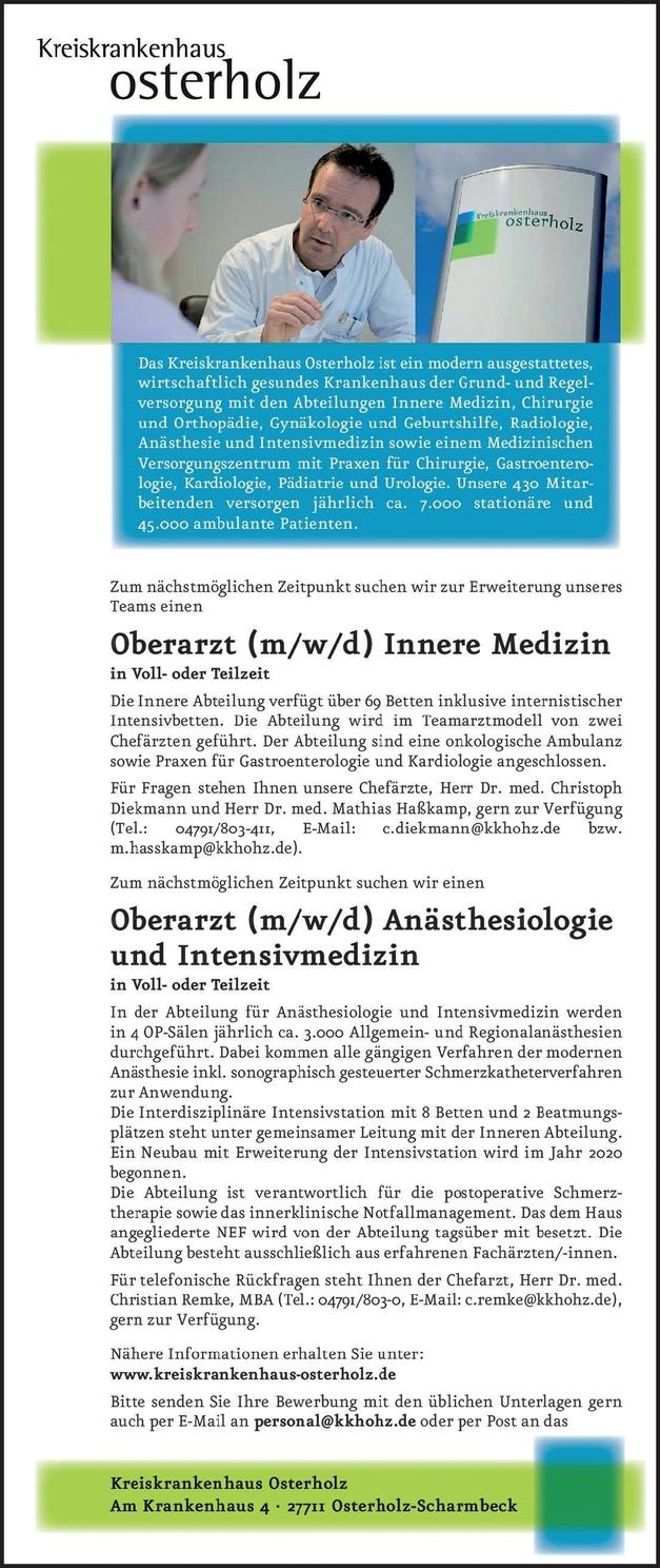 Oberarzt (m/w/d) Anästhesiologie und Intensivmedizin