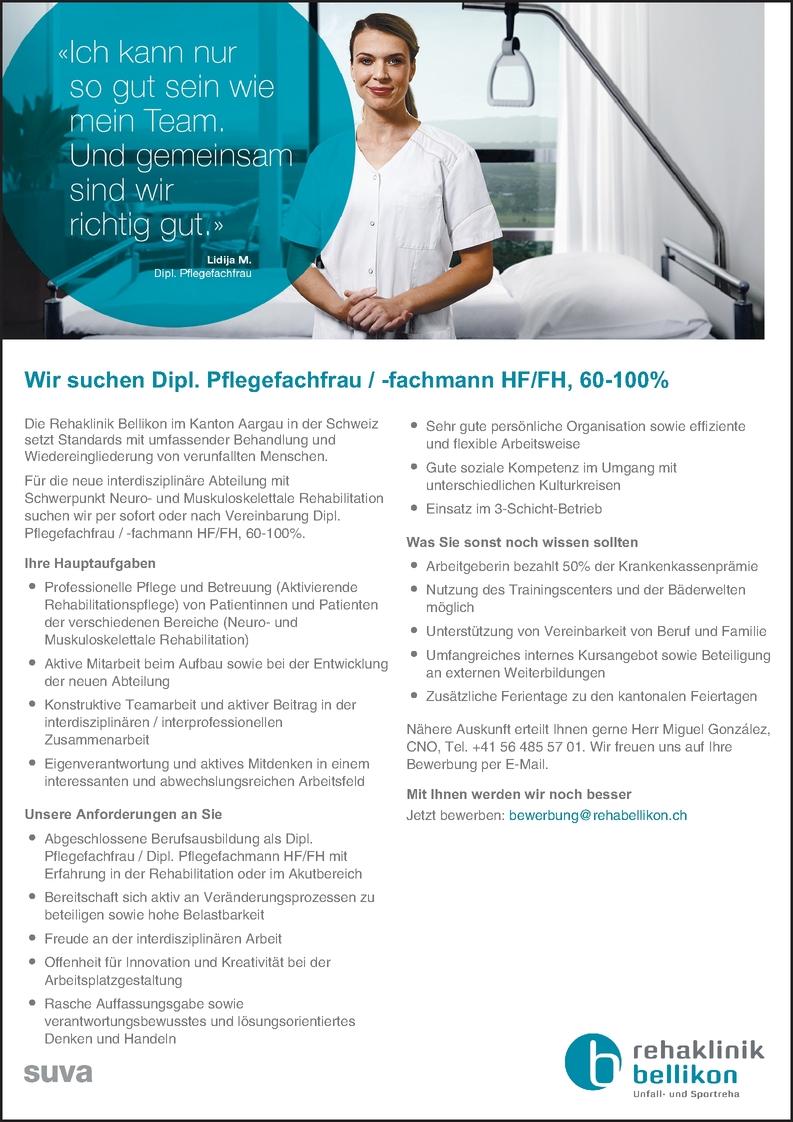 Dipl. Pflegefachfrau / -fachmann HF/FH, 60-100%