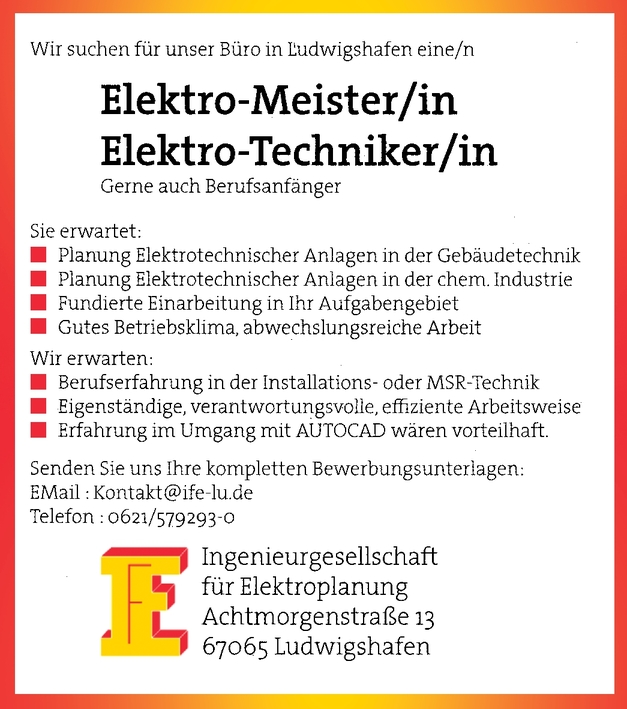 Elektrotechniker ( m/w/d)