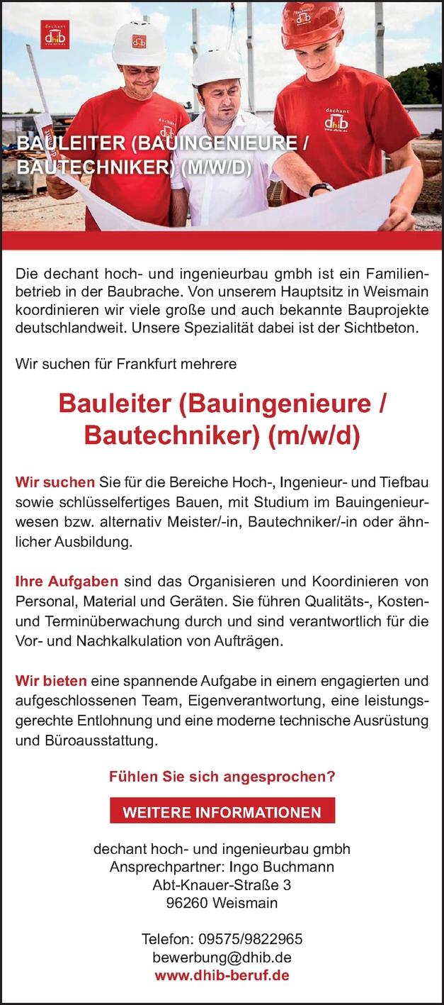 BAULEITER (BAUINGENIEURE /BAUTECHNIKER) (M/W/D)