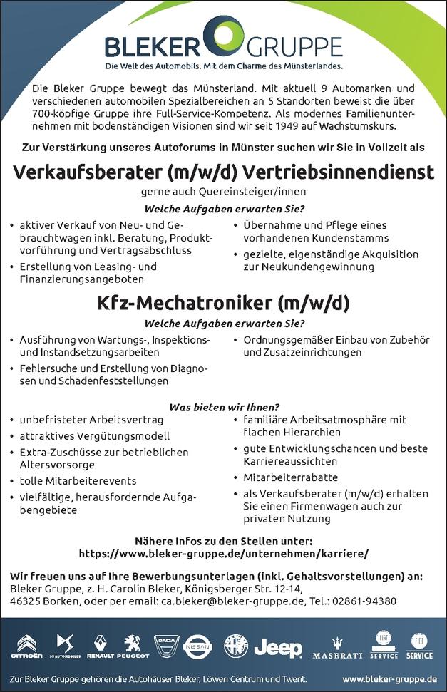 Verkaufsberater/in Vertrieb (m/w/d)