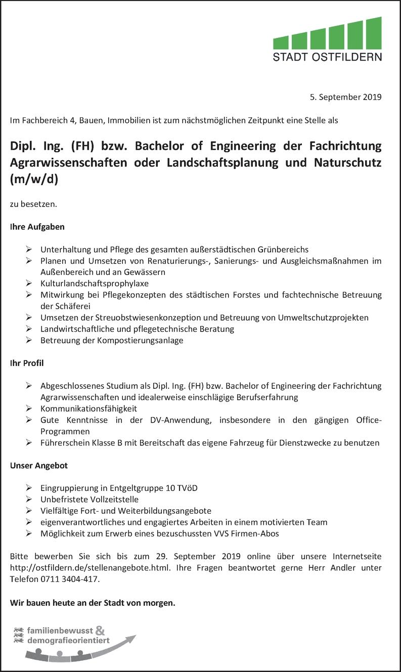 Bachelor of Engineering - Agrarwissenschaften
