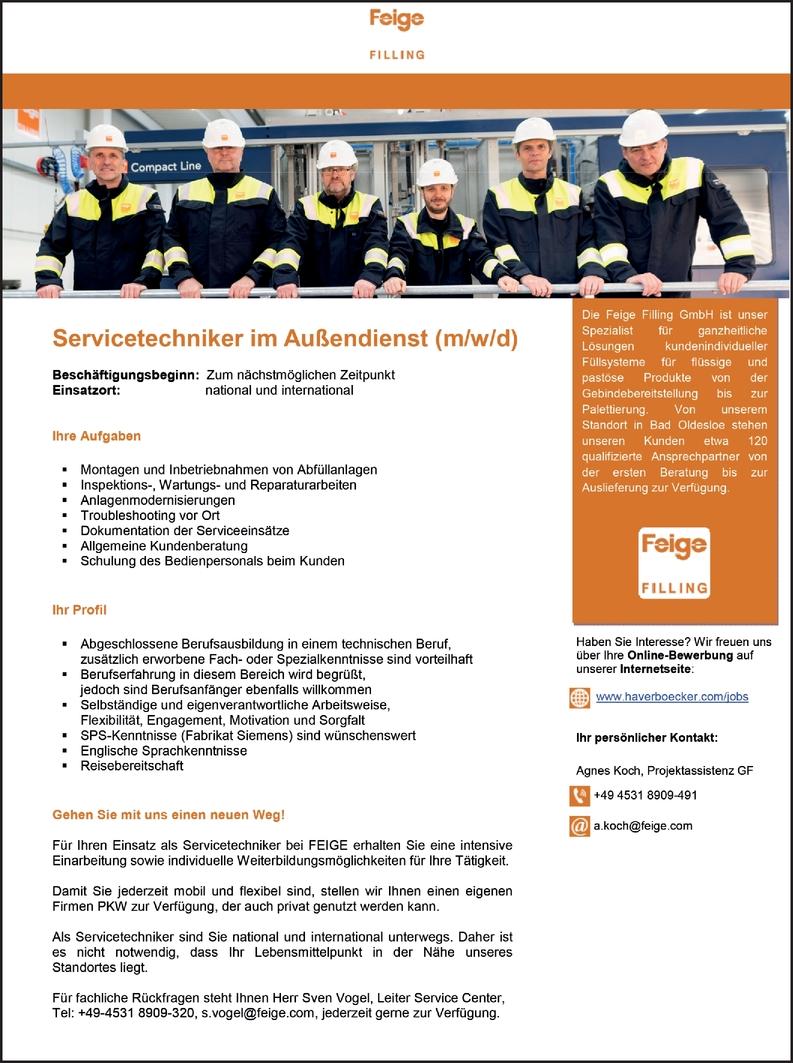 Servicetechniker im Außendienst (m/w/d)