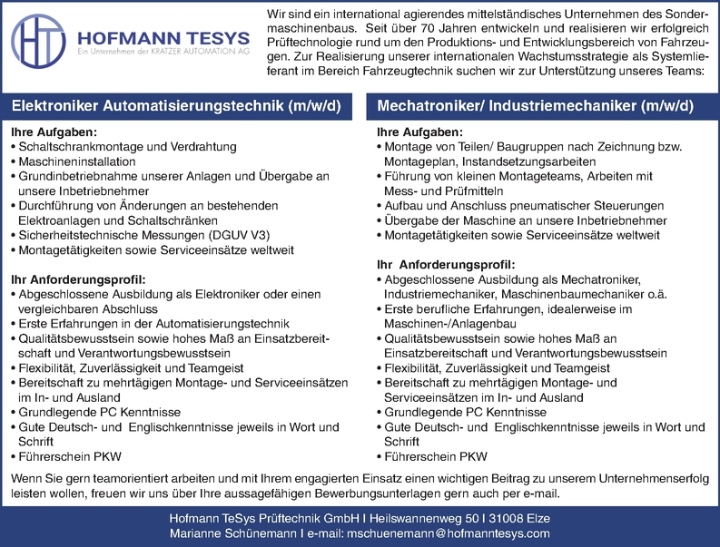 Industriemechaniker/in (m/w/d)