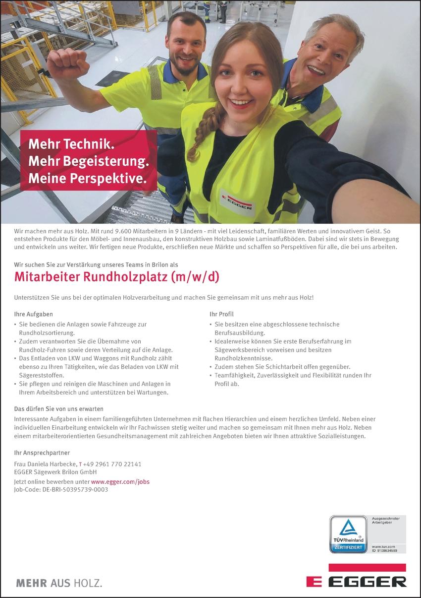 Mitarbeiter Rundholzplatz (m/w/d)