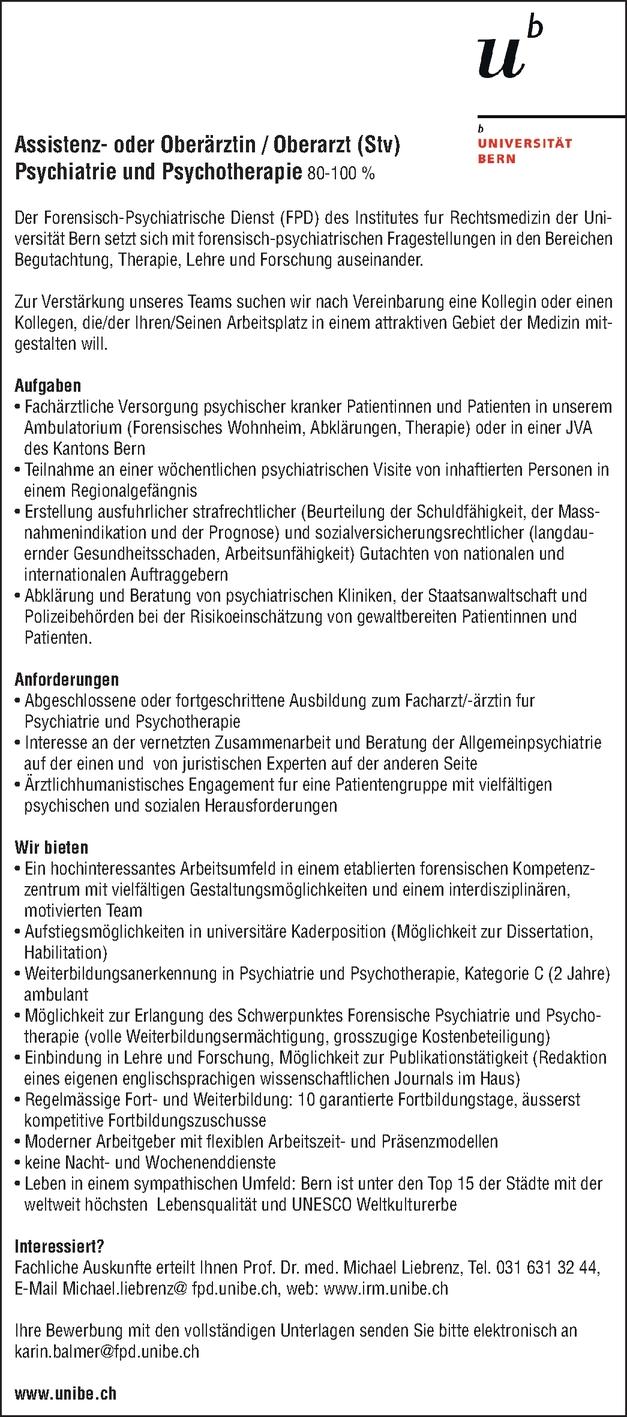 Assistenz- oder Oberärztin/Oberarzt (Stv) Psychiatrie und Psychotherapie 80-100%