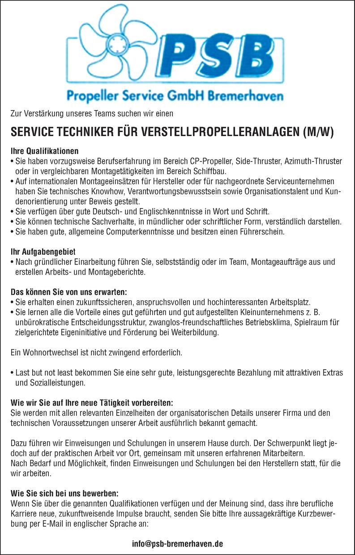 SERVICE TECHNIKER FÜR VERSTELLPROPELLERANLAGEN (M/W)