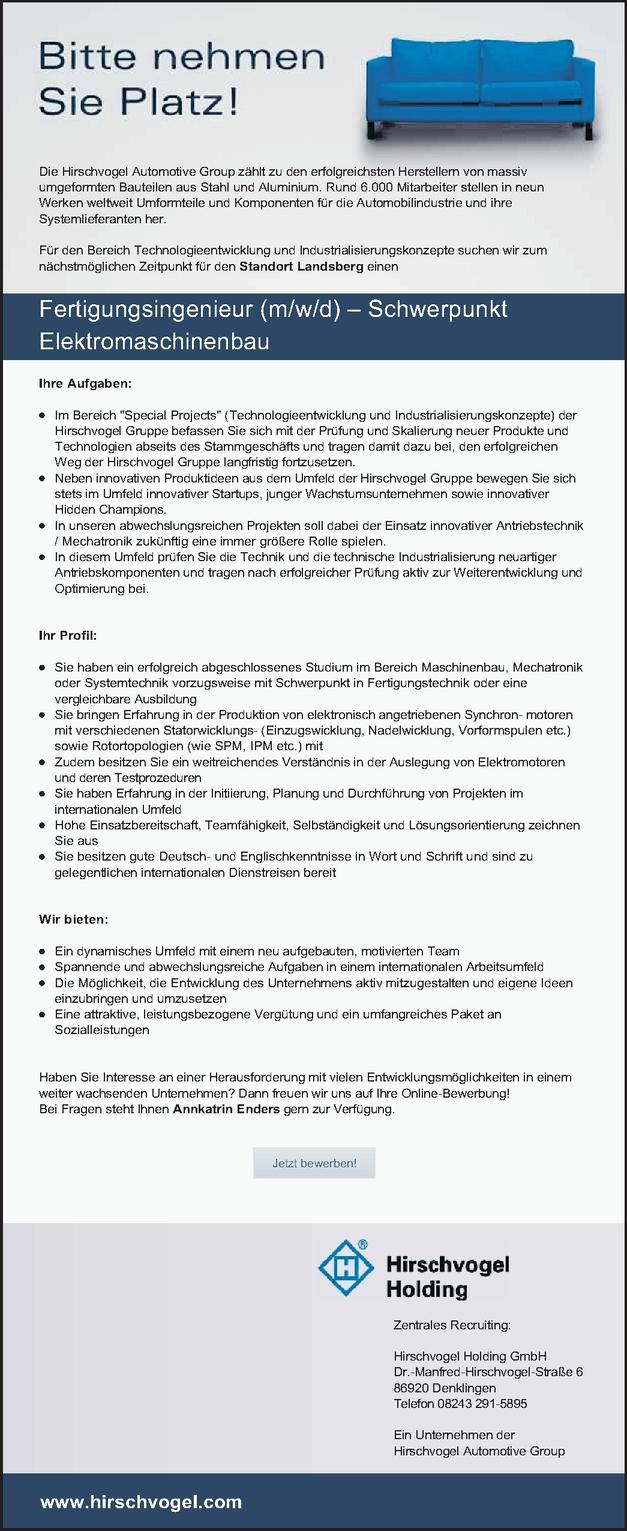 Fertigungsingenieur (m/w/d) – Schwerpunkt Elektromaschinenbau