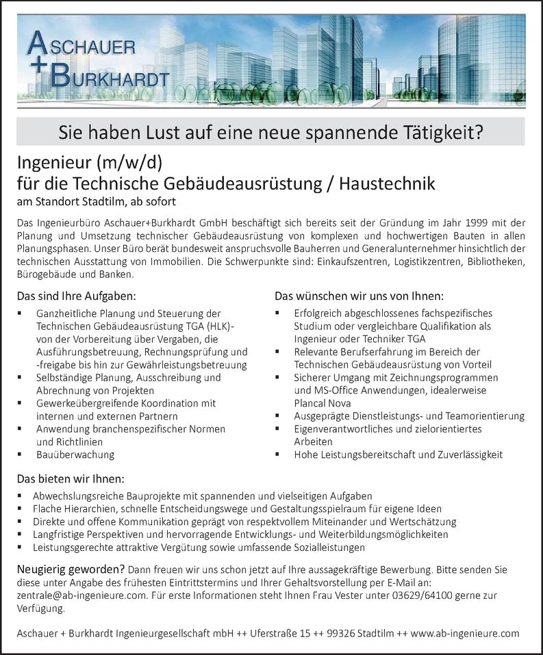 Ingenieur (m/w/d) Technische Gebäudeausrüstung / Haustechnik