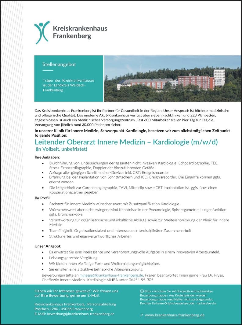 Leitender Oberarzt Innere Medizin - Kardiologie (m/w/d)