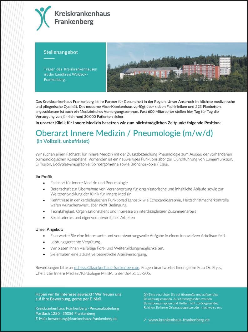 Oberarzt Innere Medizin / Pneumologie (m/w/d)