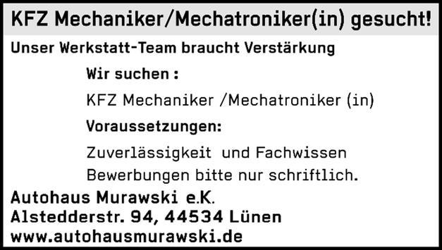 KFZ‐Mechaniker/Mechatroniker ﴾m/w/d﴿