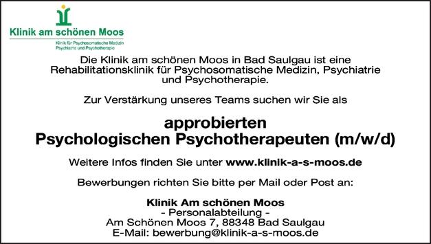 approbierten Psychiologischen Psychotherapeuten (m/w/d)