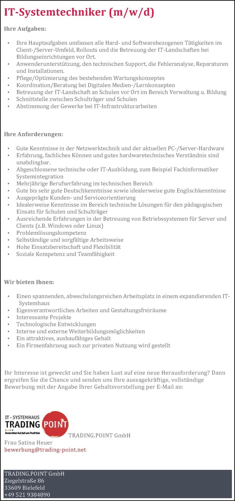 IT-Systemtechniker/in
