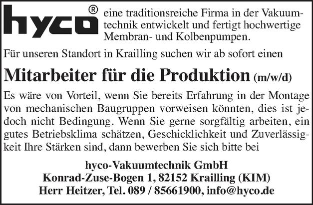 Mitarbeiter für die Produktion (m/w/d)