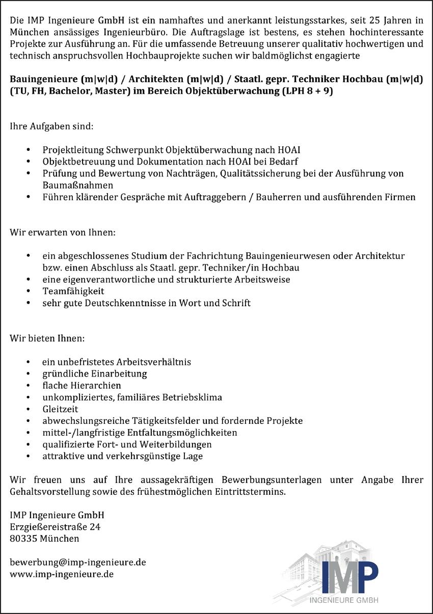 Techniker Hochbau (m/w/d) im Bereich Objektüberwachung