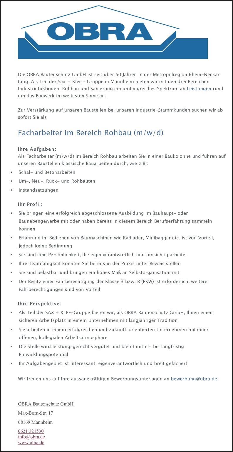 Facharbeiter im Bereich Rohbau (m/w/d)