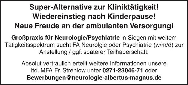 Facharzt (m/w/d) Neurologie / Psychiatrie
