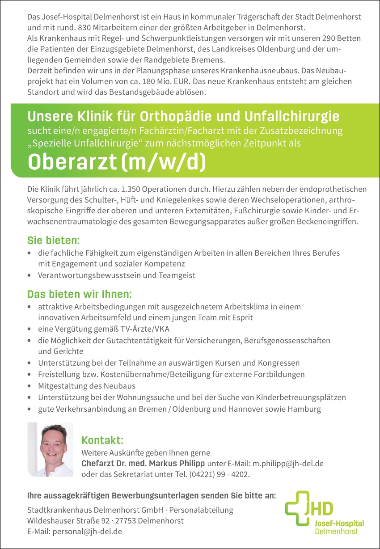 Oberarzt (m/w/d) für Orthopädie und Unfallchirurgie