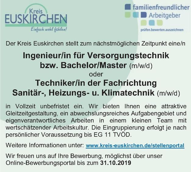 Ingenieur/in Versorgungstechnik