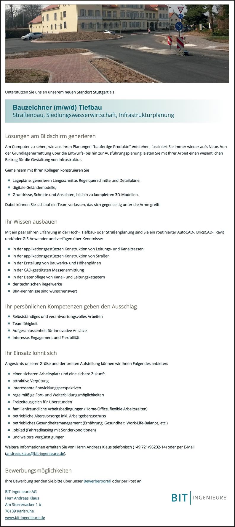 Bauzeichner (m/w/d) Tiefbau Straßenbau, Siedlungswasserwirtschaft, Infrastrukturplanung