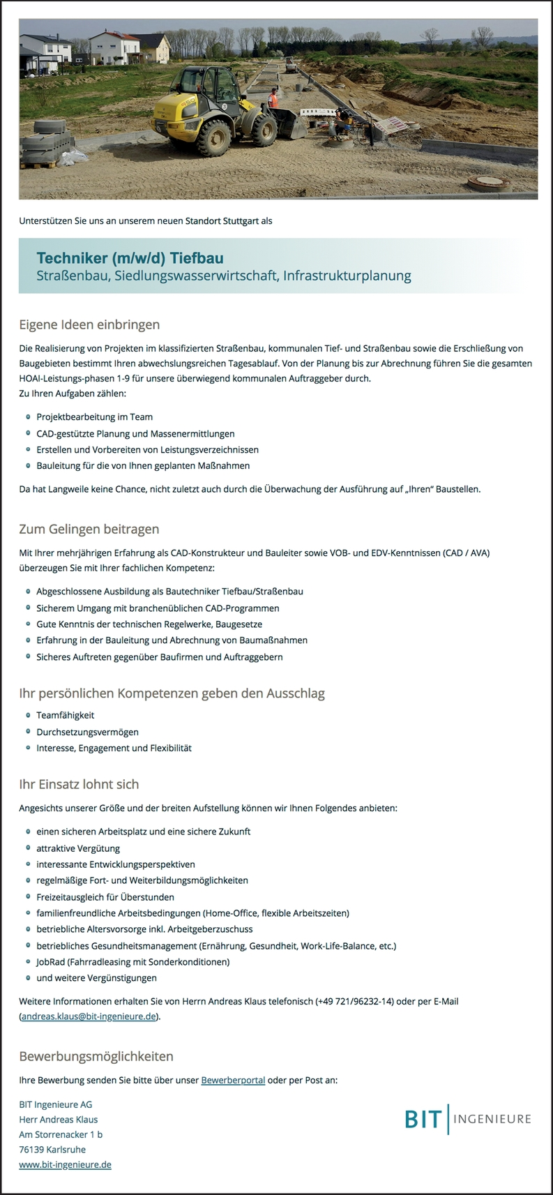 Techniker (m/w/d) Tiefbau Straßenbau, Siedlungswasserwirtschaft, Infrastrukturplanung