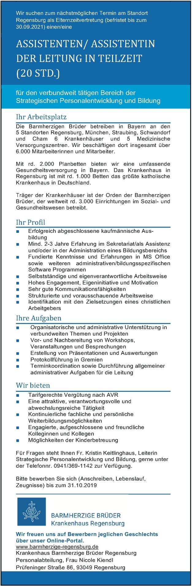 Assistent/in - Personalentwicklung und Bildung