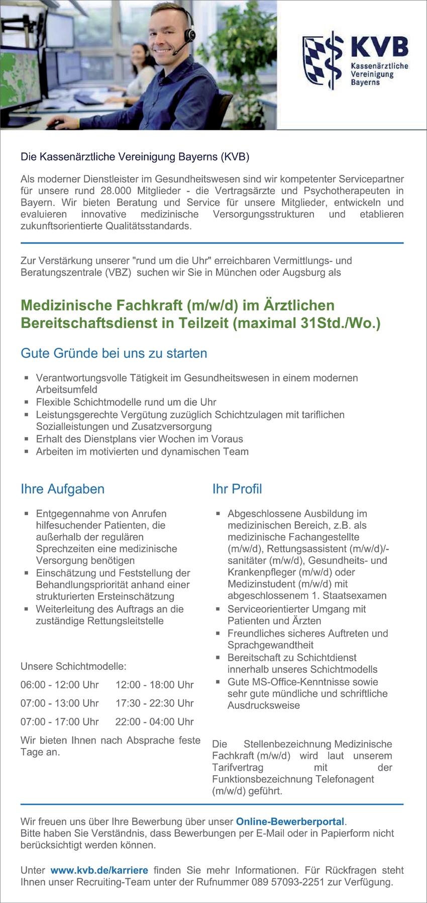 Medizinische Fachkraft (m/w/d) im Ärztlichen Bereitschaftsdienst in Teilzeit (maximal 31Std./Wo.)