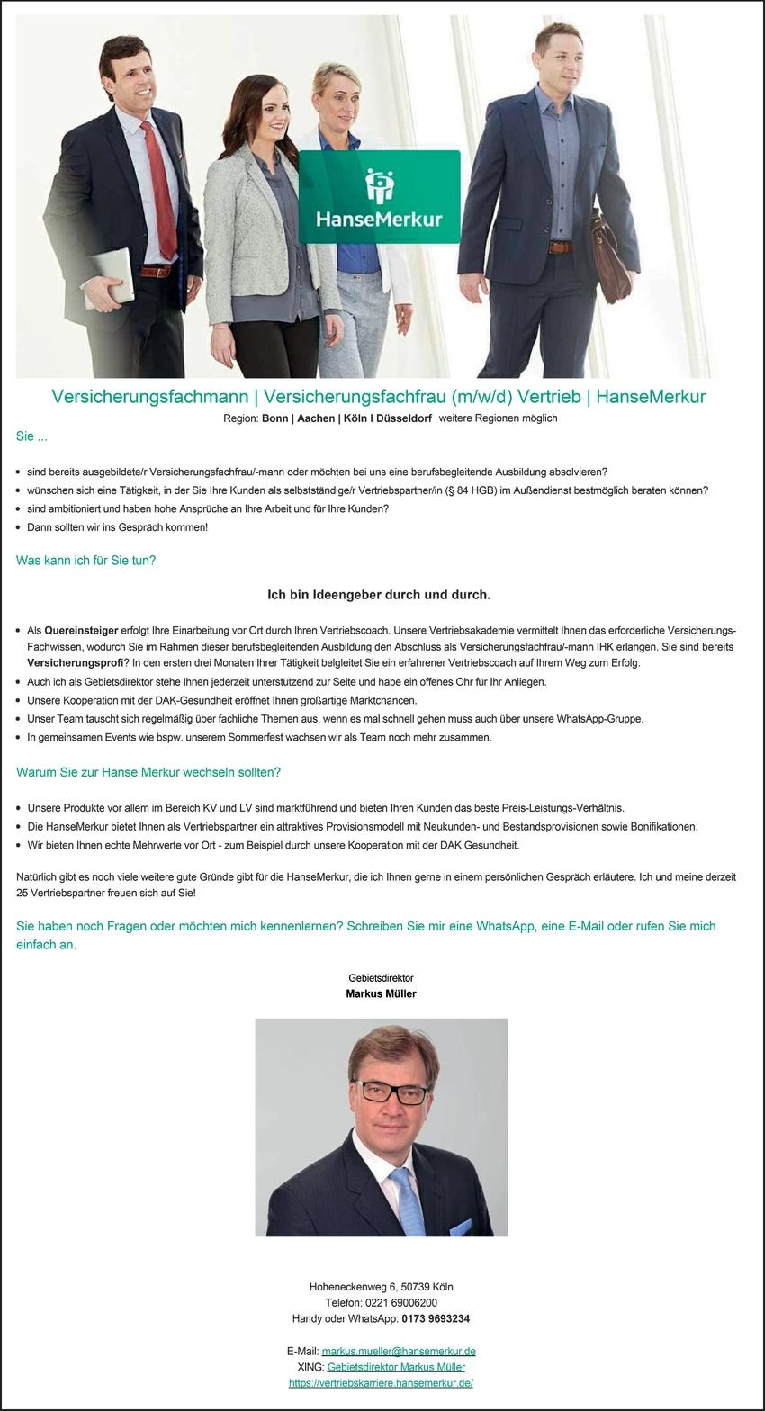 Versicherungsfachmann/-frau