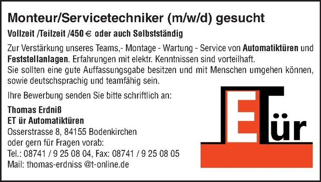 Monteur/Servicetechniker (m/w/d)