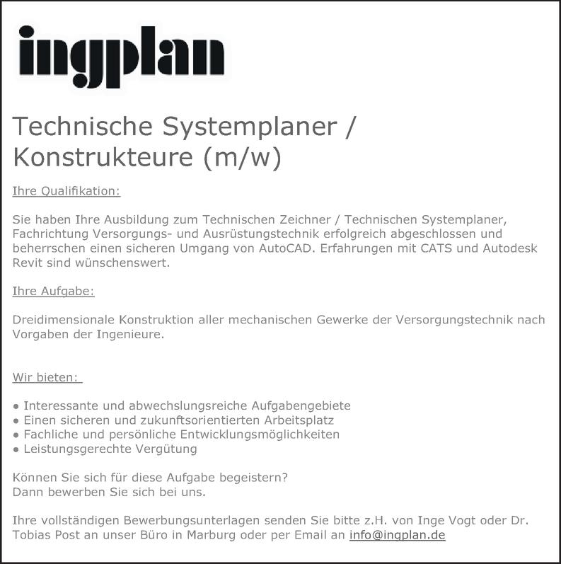 Technischen Systemplane  Versorgungstechnik