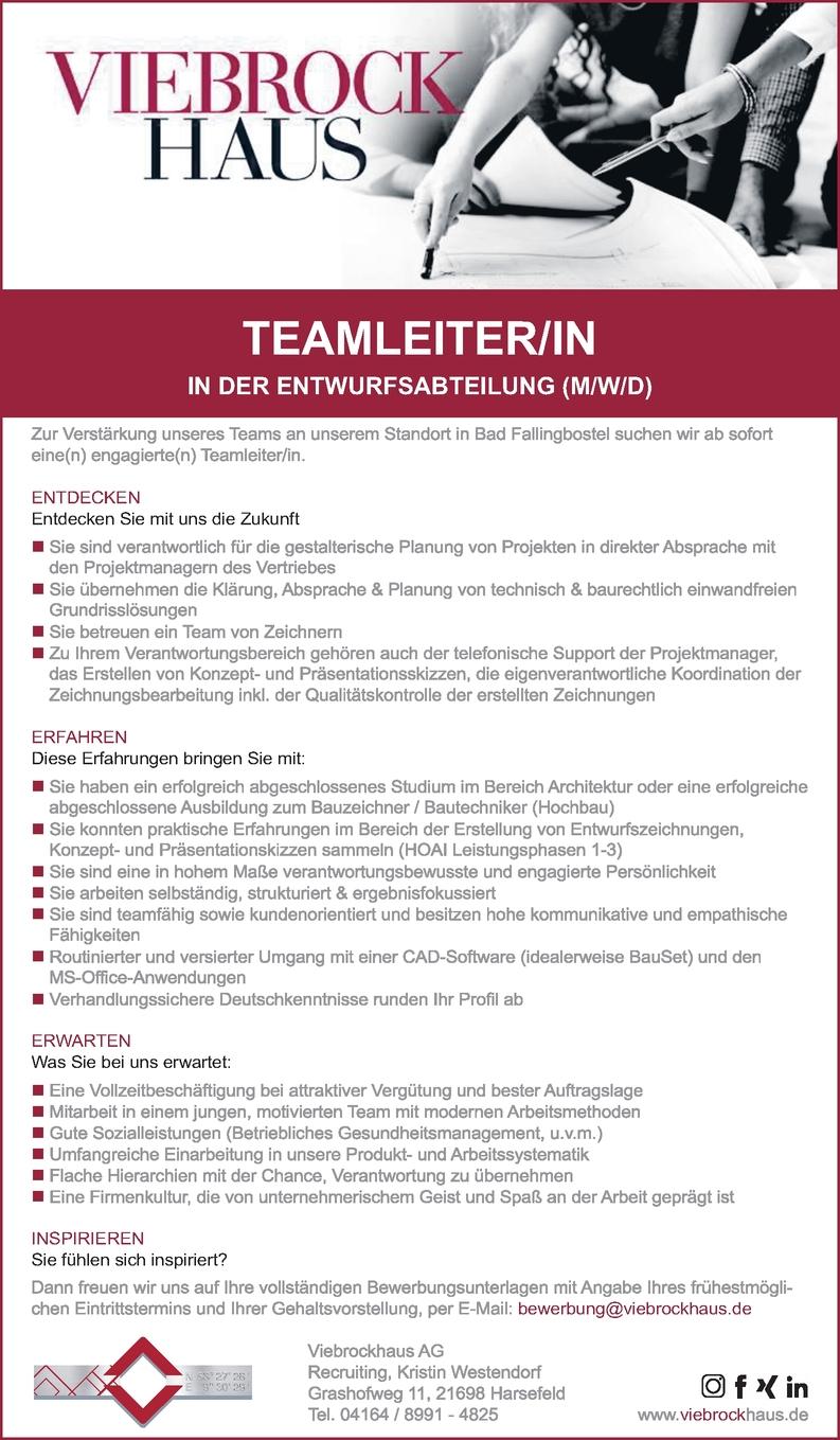 Teamleiter in der Entwurfsabteilung (m/w/d)