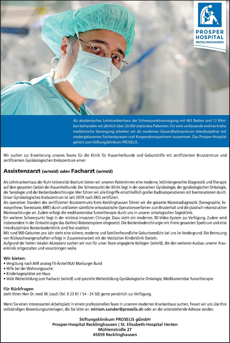 Assistenzarzt (w/m/d) oder Facharzt (w/m/d)