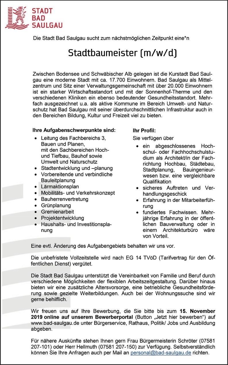 Stadtbaumeister (m/w/d)