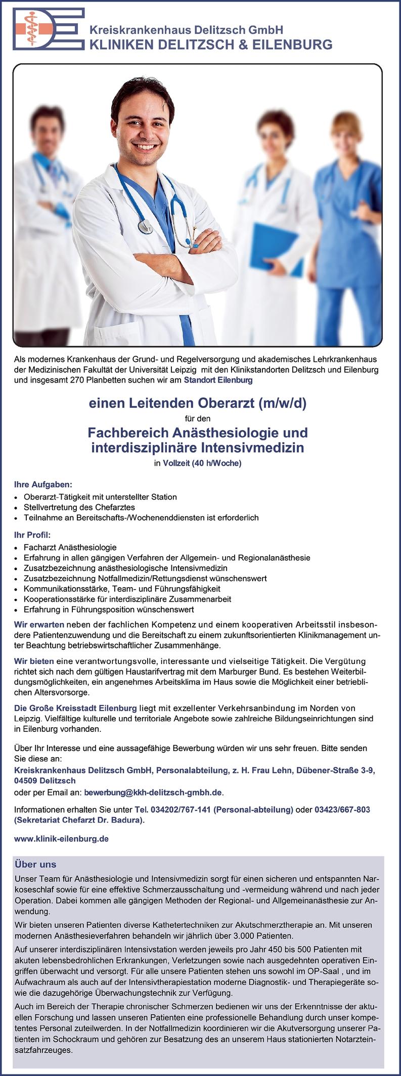 Leitender Oberarzt (m/w/d) Anästhesiologie